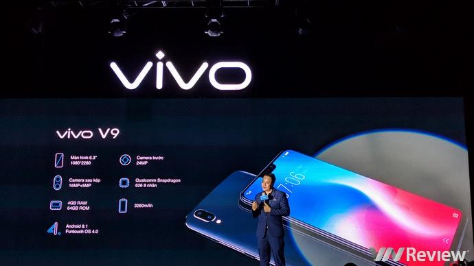 Vivo V9 ra mắt tại Việt Nam: màn tai thỏ 6.3 inch, selfie 24MP, giá 8 triệu đồng