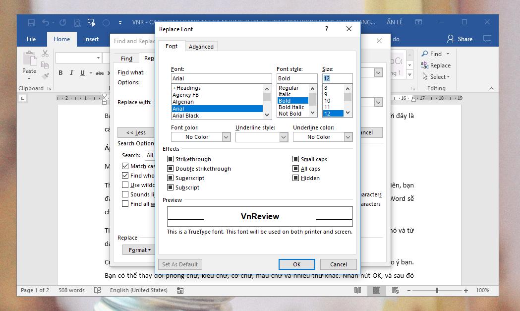 Mẹo định dạng nhanh từ hoặc cụm từ xuất hiện nhiều lần trên tài liệu Microsoft Word