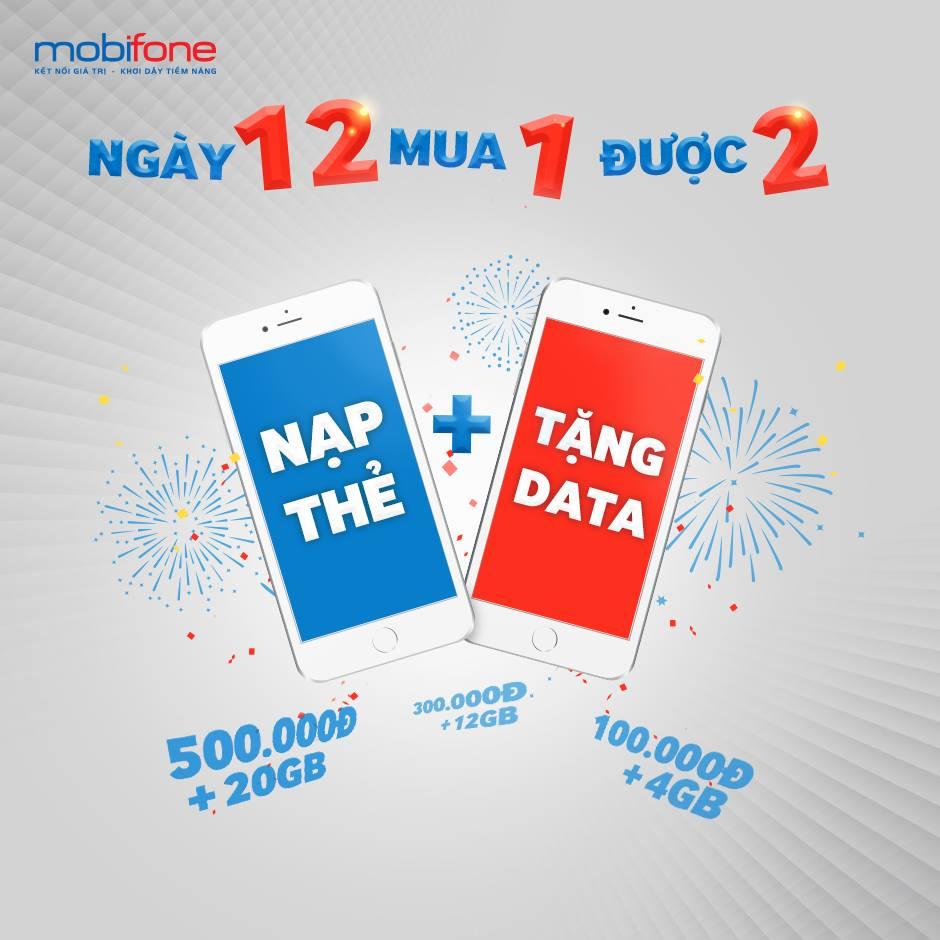 Nạp thẻ ngày 12 hàng tháng, MobiFone tặng đến 20 GB data