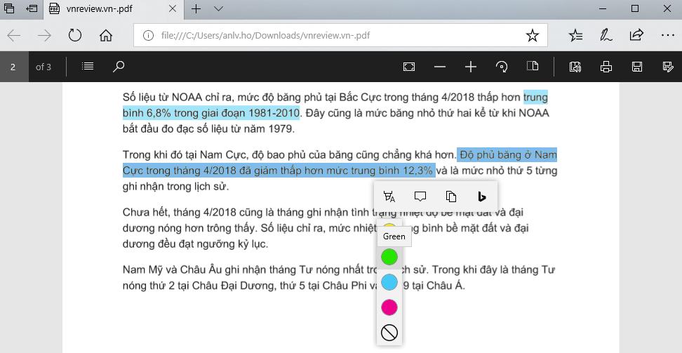 Mẹo tô màu văn bản PDF bằng trình duyệt Edge