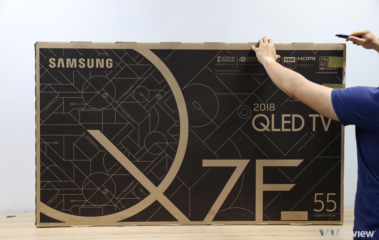 Mở hộp và trên tay Smart TV Samsung QLED Q7F 2018 55 inch