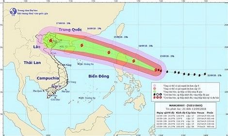 Siêu bão Mangkhut sẽ gây mưa to ở Bắc bộ và Bắc Trung bộ