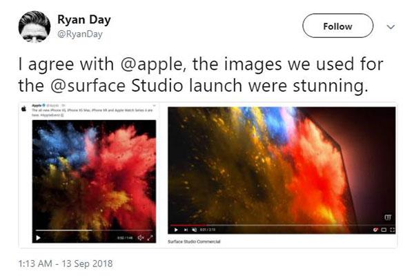 Đây là ảnh quảng cáo của iPhone Xs và Microsoft Surface, nhưng có gì sai sai thì phải?