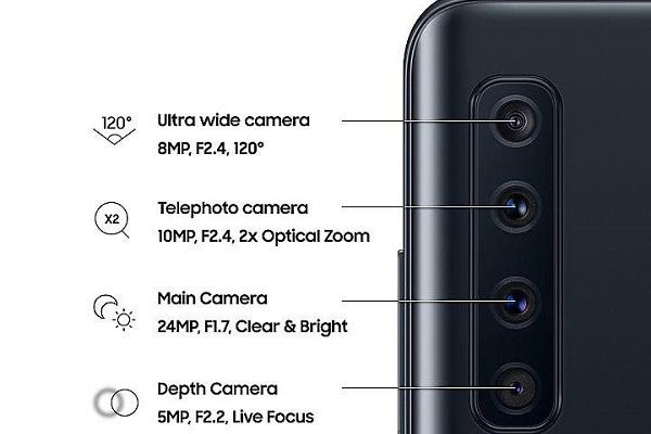 Samsung A9 Pro có 4 camera, bao gồm camera tele, góc siêu rộng và cảm biến độ sâu