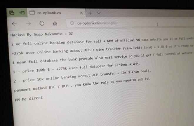 Ngân hàng Hợp tác xã bị hack, tin tặc đòi 100.000 USD tiền chuộc
