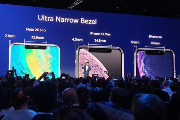 """Huawei tự tin """"khoe"""" viền màn hình của Mate 20 mỏng hơn iPhone Xs"""