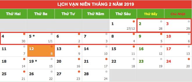 Tết Nguyên đán 2019 nghỉ mấy ngày?