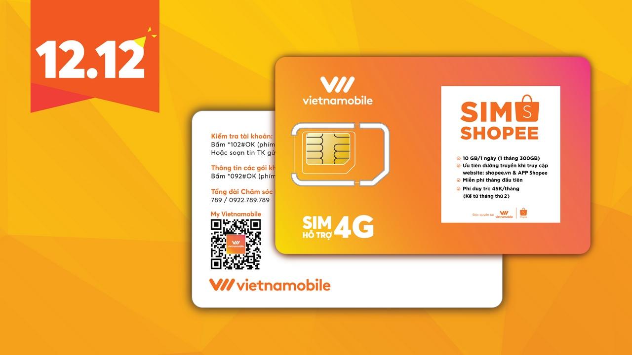 Vietnamobile hợp tác cùng Shopee ra mắt SIM 4G 10GB/ngày, phí 45 nghìn đồng/tháng