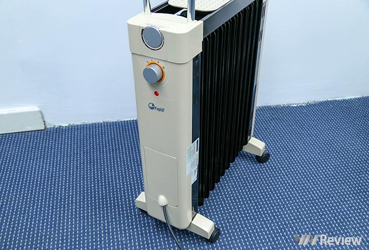 Trên tay máy sưởi dầu Fujie OFR-6511: thiết kế đẹp, có dàn sấy quần áo