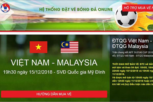 Mua vé bóng đá online trận chung kết Việt Nam – Malaysia