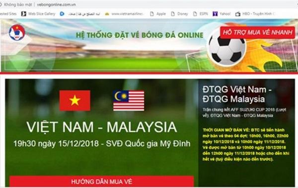 VFF vô tình quảng bá cho website bán vé bóng đá online giả mạo