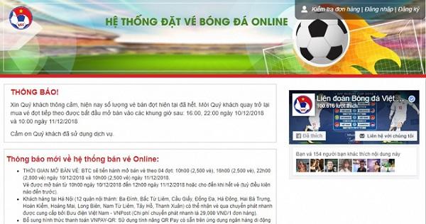 Gần 11 triệu lượt truy cập web bán vé trận chung kết AFF Cup 2018, bán 2.500 vé trong 16 phút