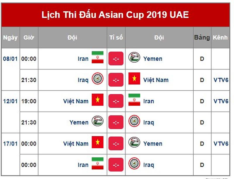 Lịch thi đấu đội tuyển Việt Nam tại VCK Asian Cup 2019
