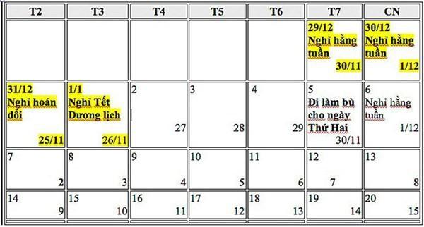 Lịch nghỉ tết dương lịch 2019 chính thức