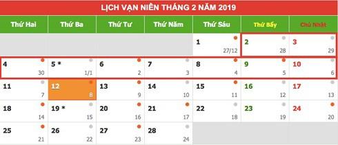 Lịch nghỉ Tết âm lịch năm 2019