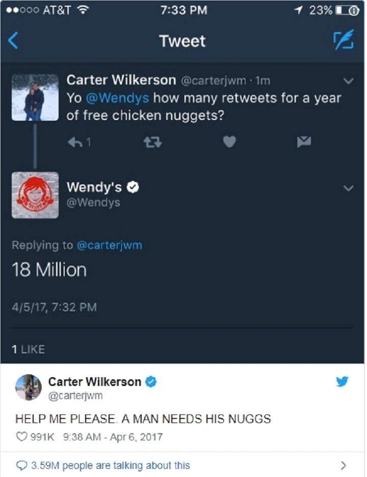 Carter Wilkerson cố gắng lấy gà viên chiên miễn phí