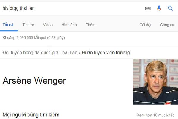 """Google """"cho"""" ông Arsene Wenger làm HLV trưởng ĐTQG Thái Lan"""