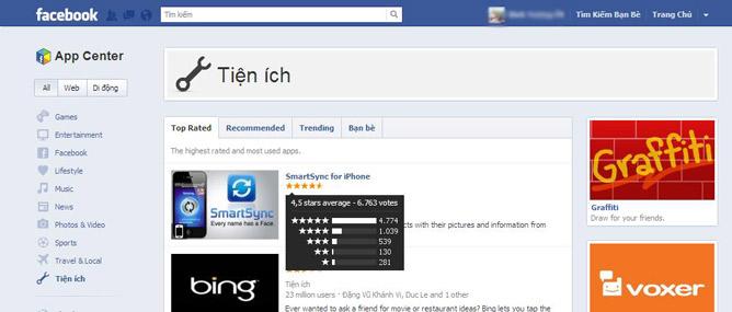 Trải nghiệm Facebook App Center