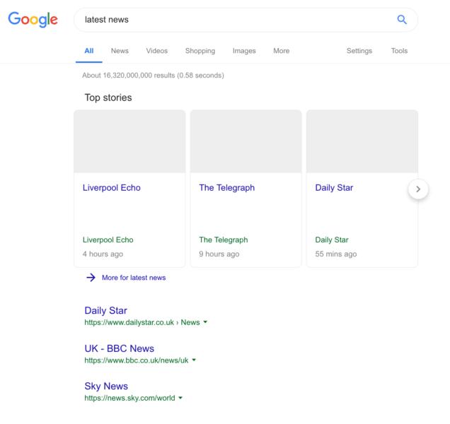 """Kết quả tìm kiếm Google sẽ hiển thị """"đìu hiu"""" như thế này khi luật bản quyền của EU có hiệu lực"""