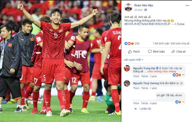 Bão like và share trên Facebook cá nhân của các cầu thủ tuyển Việt Nam sau chiến thắng Jordan