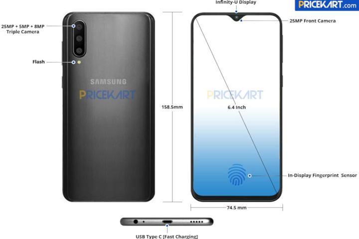 Lộ diện ảnh render Samsung Galaxy A50 với 3 camera, tai thỏ tối giản
