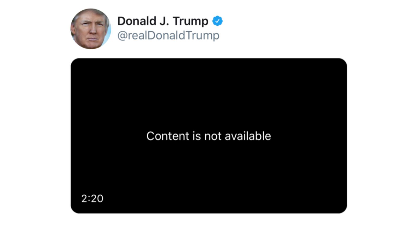 Tweet của Tổng thống Mỹ Donald Trump bị xoá vì vi phạm bản quyền