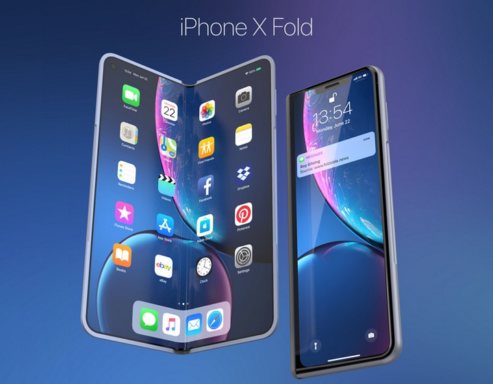 Ngam y tuong iPhone Fold lay cam hung tu smartphone man hinh gap Galaxy Fold