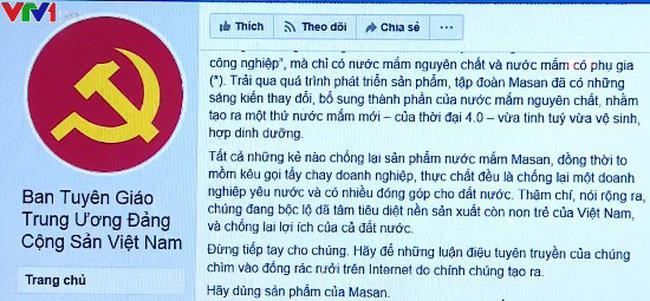 Tài khoản Facebook giả mạo Ban tuyên giáo Trung ương đã bị xoá