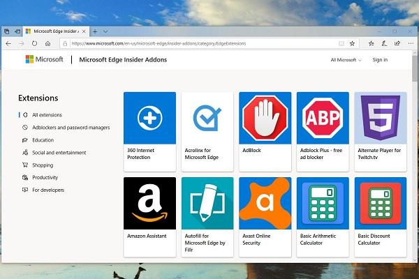 Đây là cửa hàng Extension dành cho trình duyệt Edge nhân Chromium mới của Microsoft.