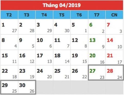 Lịch nghỉ lễ 30/4 năm 2019