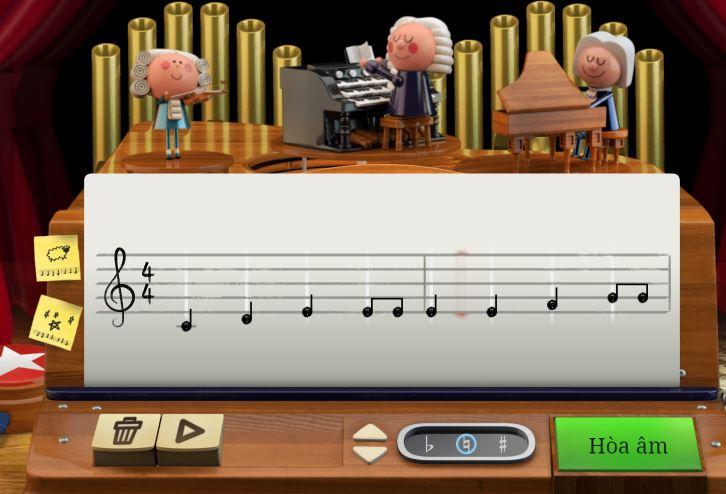 Tôn vinh Johann Sebastian Bach, Doodle hôm nay để người dùng tự soạn nhạc theo phong cách của ông
