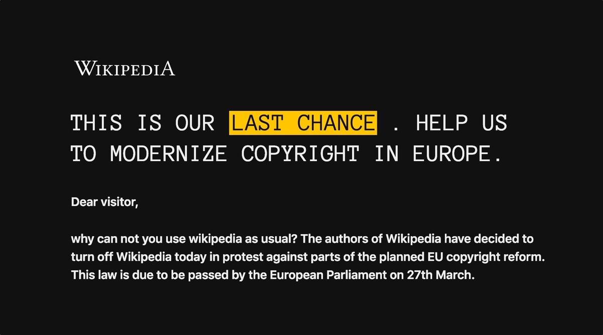 Wikipedia ở các nước châu Âu ngừng hoạt động để phản đối luật bản quyền gây tranh cãi