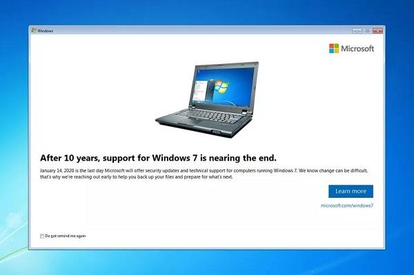 Microsoft đã bắt đầu thông báo ngừng hỗ trợ Windows 7