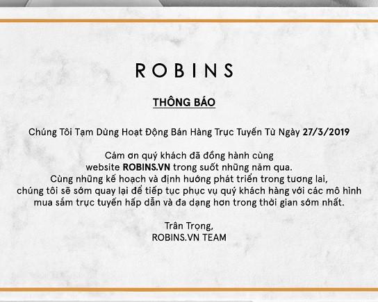 Robins tuyên bố đóng cửa