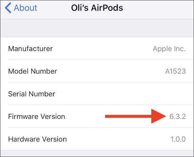 Cập nhật firmware AirPods