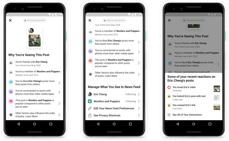 Facebook sẽ giải thích lý do các bài đăng xuất hiện trên bảng tin của người dùng