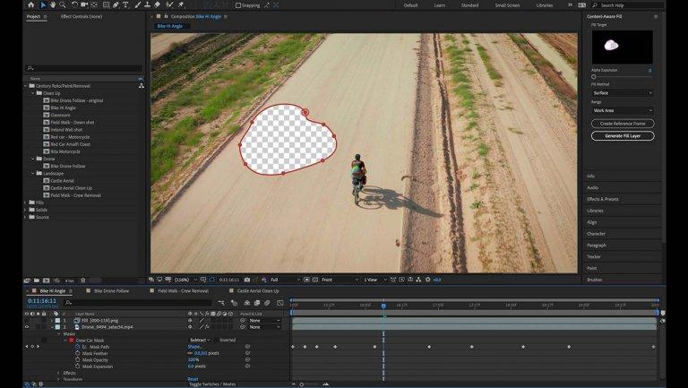 Adobe After Effects bổ sung tính năng Content-Aware Fill giúp xoá vật thể không mong muốn khỏi video