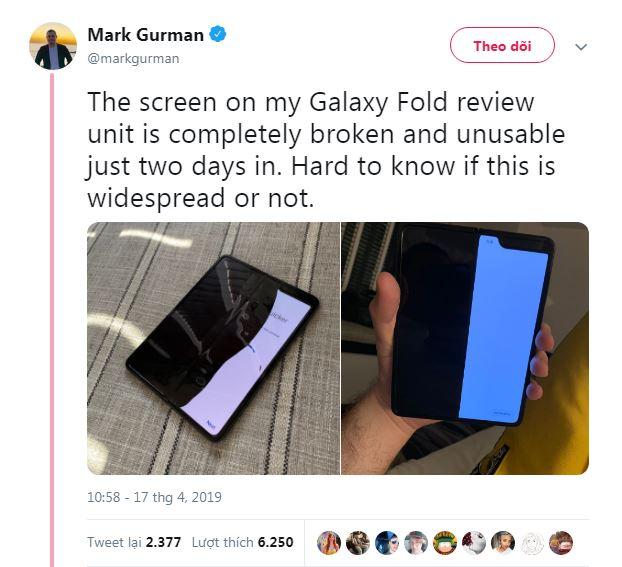 Màn hình Galaxy Fold bị hỏng sau vài ngày sử dụng