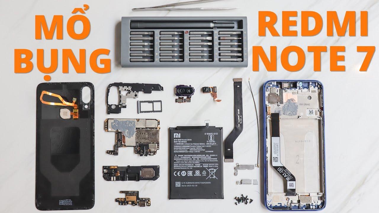 Mổ Redmi Note 7: phát hiện nhiều gioăng cao su bên trong, khung nhựa có gá kim loại