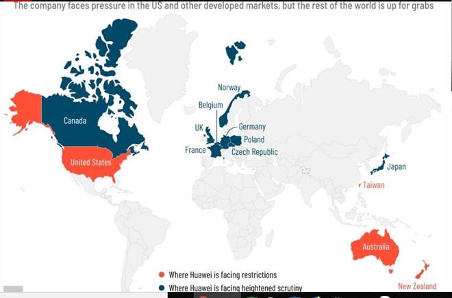 bản đồ các nước chống lại huawei