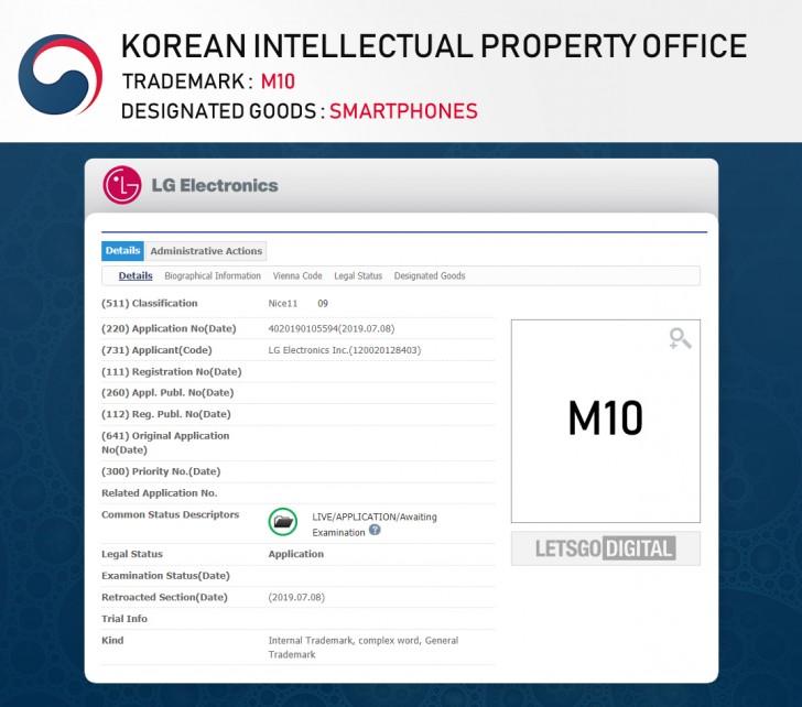 LG  đăng ký tên M10 cho dòng sản phẩm mới, ngoài ra còn có V60 và V70