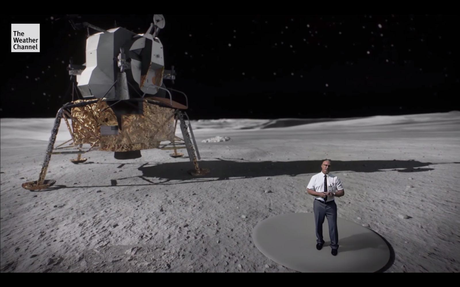 """Kênh The Weather Channel làm video cực """"ngầu"""" mô phỏng tàu Apollo hạ cánh xuống Mặt Trăng"""