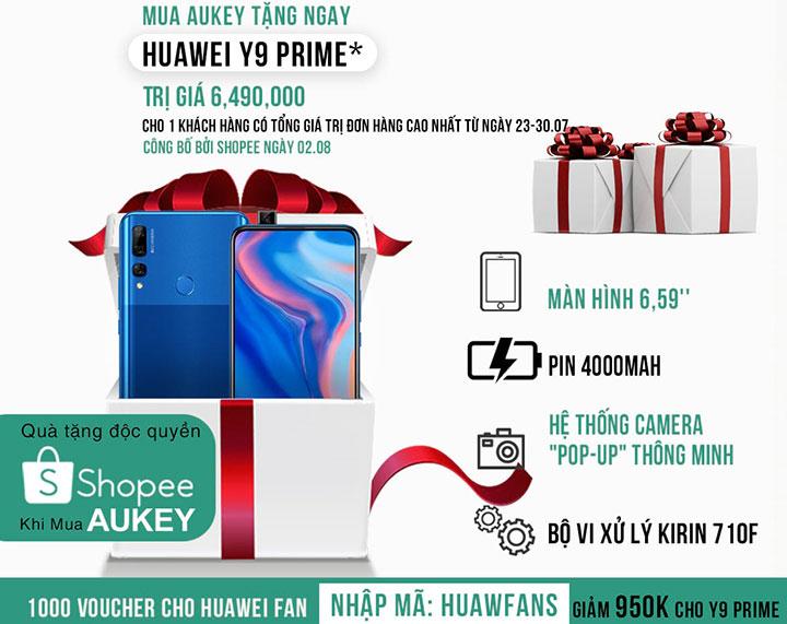 Aukey cùng Huawei mở bán deal cực hấp dẫn trên Shopee, tặng cả smartphone Huawei Y9 Prime 2019