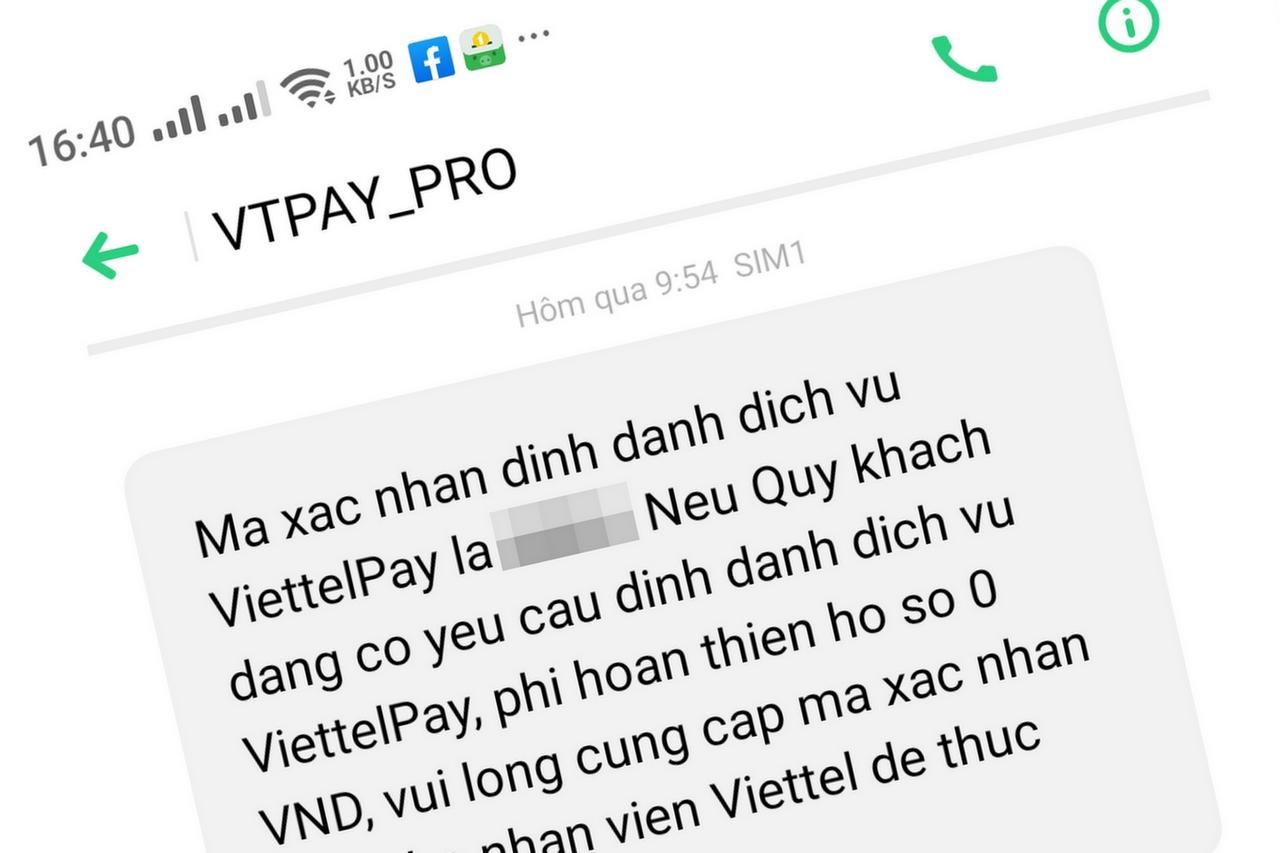 Cảnh báo số điện thoại lạ yêu cầu cung cấp mã OTP của ViettelPay để nâng cấp lên gói cước Pro