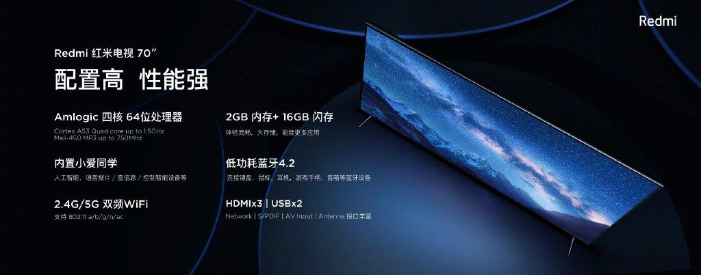 Xiaomi công bố Redmi TV, màn hình 70 inch, 4K HDR, 2GB RAM, giá khoảng 12 triệu đồng