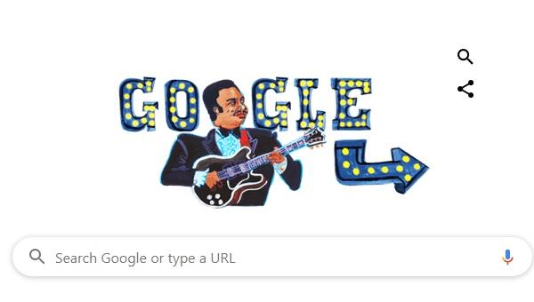 Google Doodle kỷ niệm 94 năm ngày sinh B.B. King