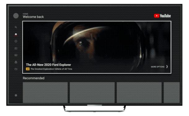 """YouTube gắn thêm một hộp quảng cáo """"siêu to khổng lồ"""" vào giao diện ứng dụng dành cho TV thông minh"""