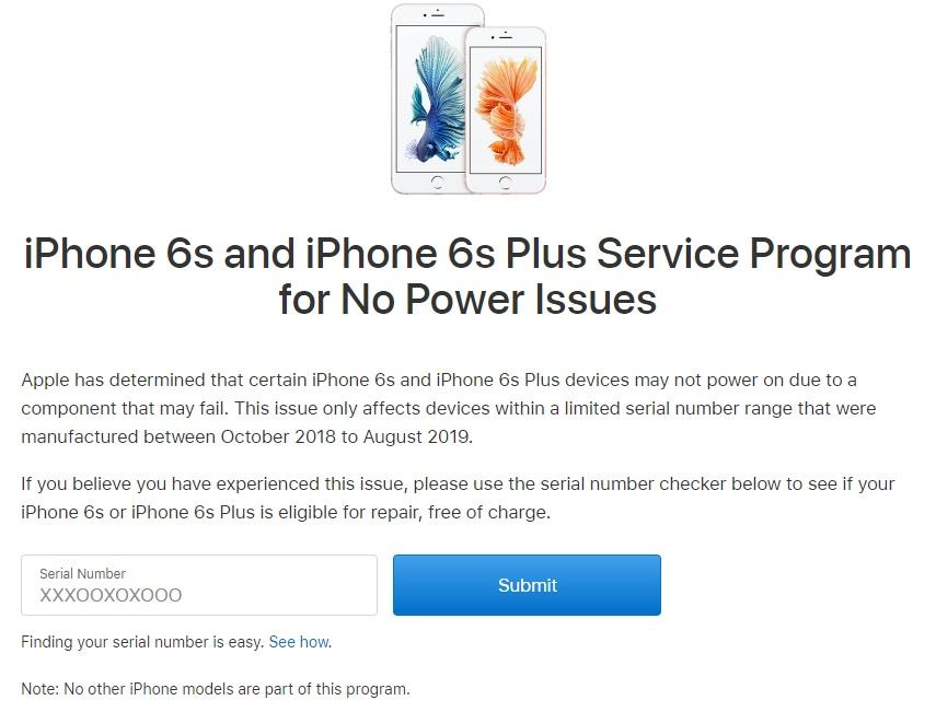 Apple mở chương trình sửa chữa cho những chiếc iPhone 6s và 6s Plus không thể bật nguồn
