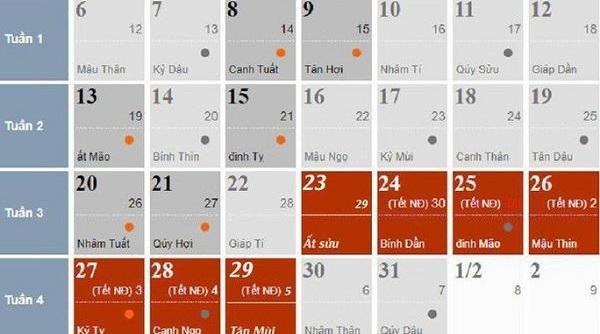 Nghỉ Tết Canh Tý 2020 kéo dài 7 ngày, bắt đầu từ 29 tháng Chạp