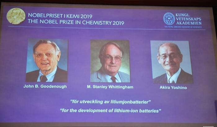 Nobel Hóa học 2019 trao cho ba nhà khoa học với nghiên cứu pin lithium-ion